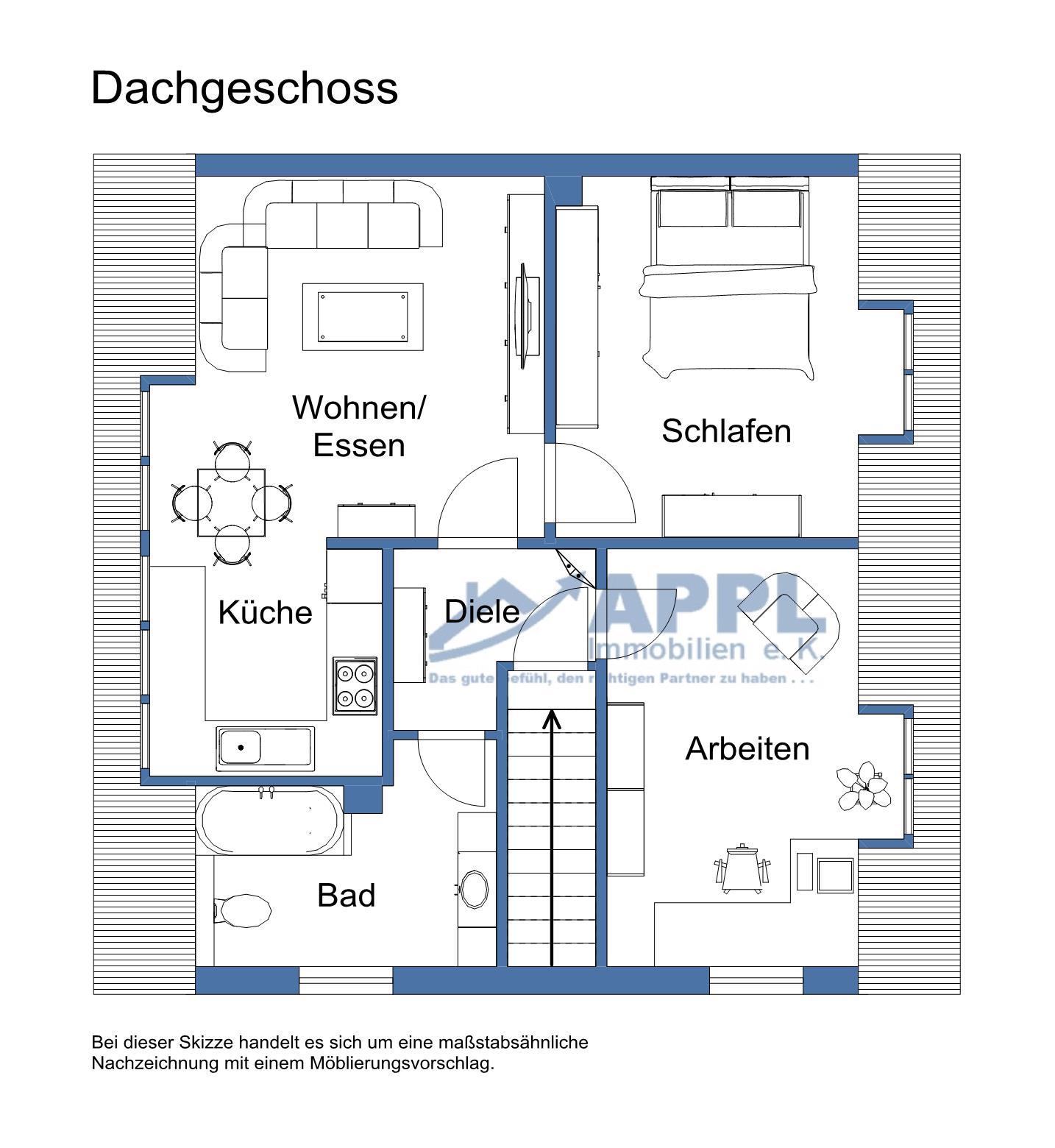 Moblierte, gemütliche 3-Zimmer-DG-ZWEIT-Wohnung in ruhiger Lage von Hüls. Einzugsbereit.
