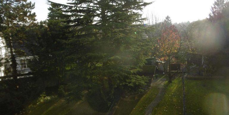 Der Blick vom Balkon ins Grüne